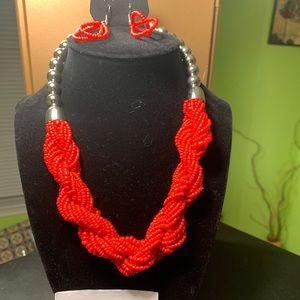 Red Coral twisted necklace and earring set